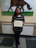 Виктория Андреева от 12 а клас получи благодарност за участието си в националния конкурс - Национална професионална гимназия по ветеринарна медицина Проф. д-р Д. Димов - Ловеч
